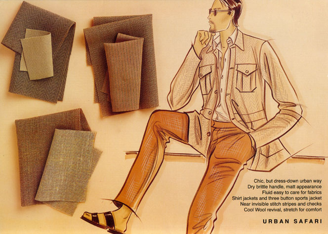 Male casual wear: urban safari.  This copyrighted image is the work of British Fashion Illustrator Hilary Kidd