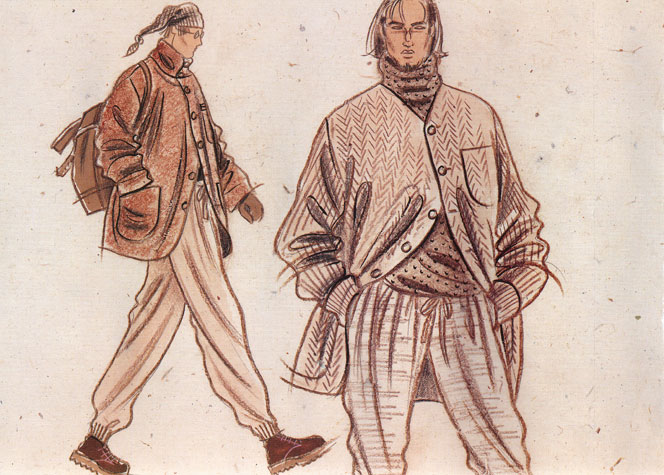 Male casual wear: tweeds and herringbone.  This copyrighted image is the work of British Fashion Illustrator Hilary Kidd