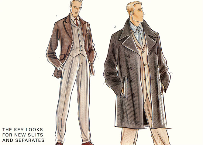 Male formalwear:  the key looks for new suits and separates. This copyrighted image is the work of British Fashion Illustrator Hilary Kidd