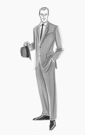 Male formalwear: figure in suit and tie, carrying a trilby.  This copyrighted image is the work of British Fashion Illustrator Hilary Kidd
