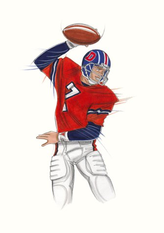 Male sports and active wear:  American footballer.  This copyrighted image is the work of British Fashion Illustrator Hilary Kidd