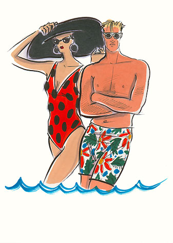Male sports and active wear: man and woman in swimwear and sunglasses.  This copyrighted image is the work of British Fashion Illustrator Hilary Kidd