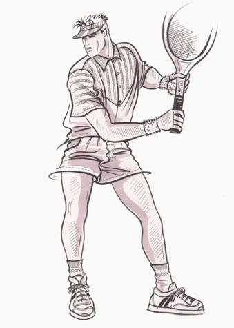 Male sports and active wear:  tennis player in action.  This copyrighted image is the work of British Fashion Illustrator Hilary Kidd