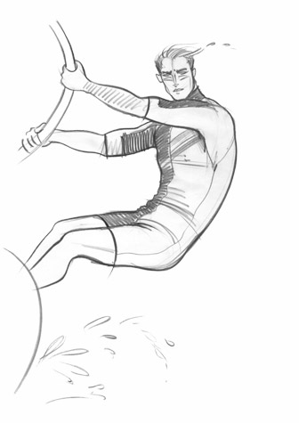 Male sports and active wear: windsurfer in mid-flight. This copyrighted image is the work of British Fashion Illustrator Hilary Kidd