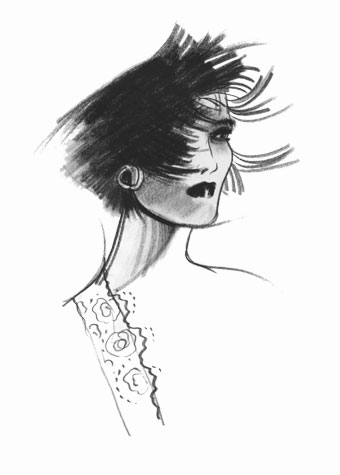 Other work and personal projects: woman with windswept hair.This copyrighted image is the work of British Fashion Illustrator Hilary Kidd