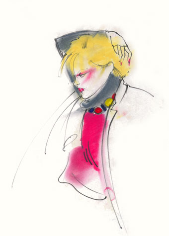 Other work and personal projects:  female figure with arm crooked behind her head.  This copyrighted image is the work of British Fashion Illustrator Hilary Kidd
