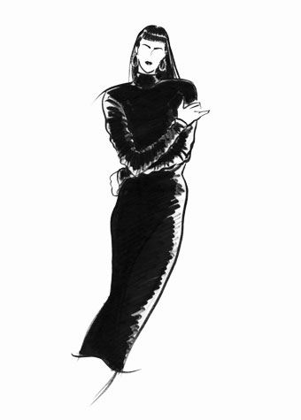 Other work and personal projects:  female figure with crossed arms, wearing long pencil-skirted dress.  This copyrighted image is the work of British Fashion Illustrator Hilary Kidd