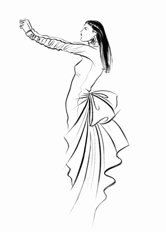Other work and personal projects: female figure in profile, with arms outstretched.  This copyrighted image is the work of British Fashion Illustrator Hilary Kidd