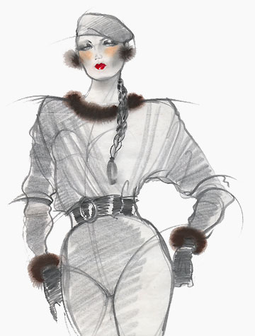 Other work and personal projects:  female figure in beret and tightly-belted garment.  This copyrighted image is the work of British Fashion Illustrator Hilary Kidd