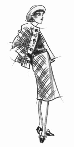 Other work and personal projects: woman in check twin-set and hat.  This copyrighted image is the work of British Fashion Illustrator Hilary Kidd