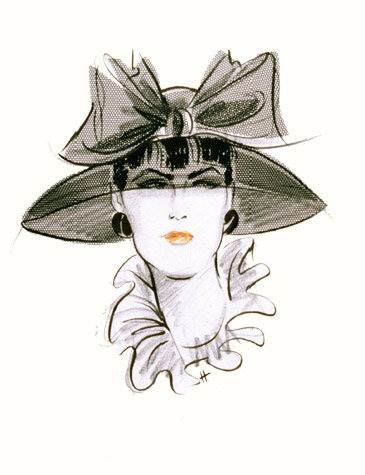 Womens accessories: bowl-brimmed hat with larg bow. This copyrighted image is the work of British Fashion Illustrator Hilary Kidd