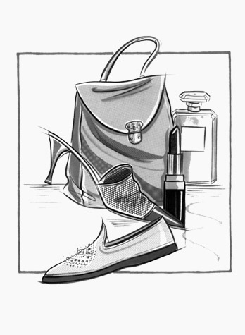 Womens accessories: handbag, shoes, lipstick and perfume. This copyrighted image is the work of British Fashion Illustrator Hilary Kidd