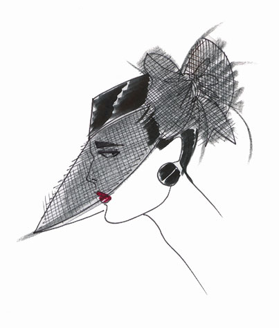 Womens accessories: hat with deep veil brim. This copyrighted image is the work of British Fashion Illustrator Hilary Kidd