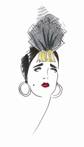 Womens accessories: headscarf and earrings. This copyrighted image is the work of British Fashion Illustrator Hilary Kidd