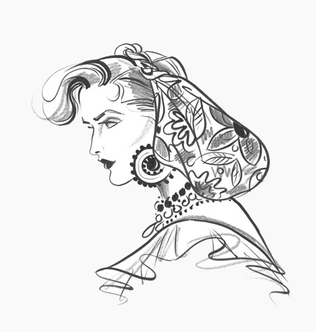 Womens accessories: headwear, earrings, necklace and patterened snood. This copyrighted image is the work of British Fashion Illustrator Hilary Kidd