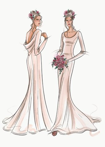 Bridal gown in Oyster silk.  This copyrighted image is the work of British Fashion Illustrator Hilary Kidd
