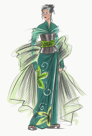 Dark green oriental evening dress with shawl.  This copyrighted image is the work of British Fashion Illustrator Hilary Kidd
