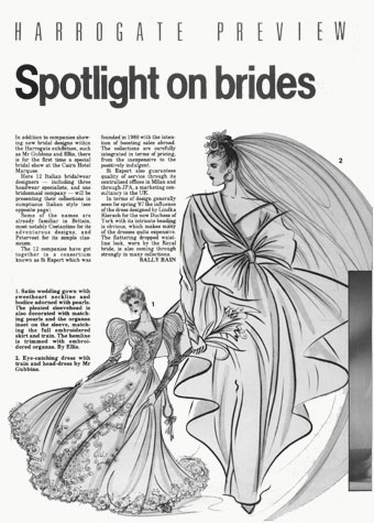 'Harrogate Preview: Spotlight on Brides' magazine article.  This copyrighted image is the work of British Fashion Illustrator Hilary Kidd
