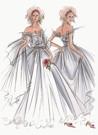 Off-the-shoulder bridal gown.  This copyrighted image is the work of British Fashion Illustrator Hilary Kidd