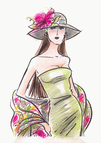 Strapless sage green dress with hat and wrap.  This copyrighted image is the work of British Fashion Illustrator Hilary Kidd