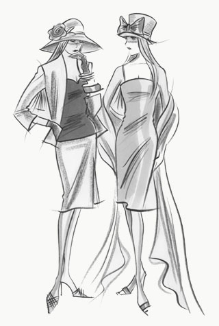 Wedding guests - two female figures.  This copyrighted image is the work of British Fashion Illustrator Hilary Kidd