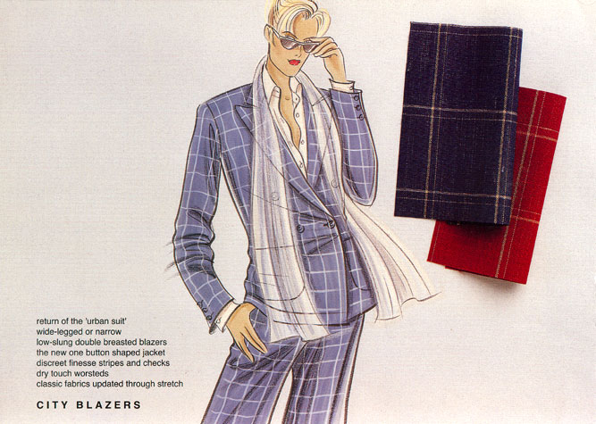 Womens daywear: city blazers.  Classic fabrics updated through stretch.  This copyrighted image is the work of British Fashion Illustrator Hilary Kidd