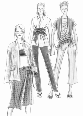 Womens daywear: cocoon winter clothing.  Pen and ink illustration of three female figures.  This copyrighted image is the work of British Fashion Illustrator Hilary Kidd