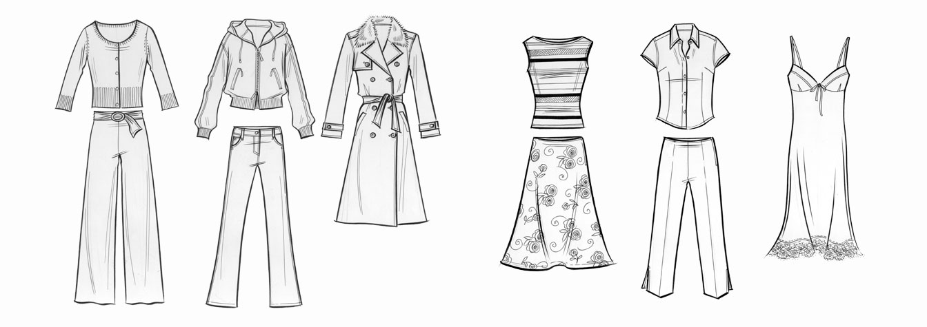 Womens daywear: flatwork illustration.   Six examples of pen-and-ink flatwork.  This copyrighted image is the work of British Fashion Illustrator Hilary Kidd