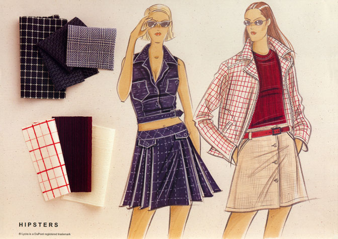 Womens daywear: hipsters.  Two female figures in short skirts, with fabric samples.  This copyrighted image is the work of British Fashion Illustrator Hilary Kidd