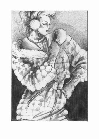 Womens daywear: junior glamorists.  Pencil drawing of a female figure in belted padded jacket and ear-muffs.  This copyrighted image is the work of British Fashion Illustrator Hilary Kidd