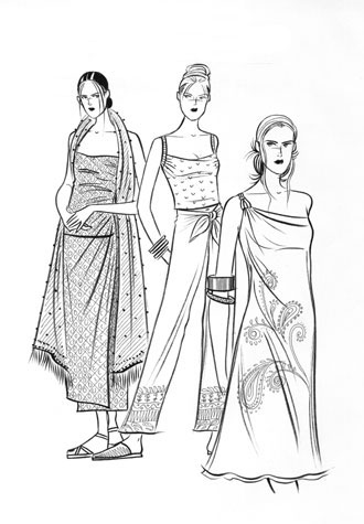Womens daywear: softly draped cloths and sarongs. Pen and ink illustration of three female figures.  This copyrighted image is the work of British Fashion Illustrator Hilary Kidd