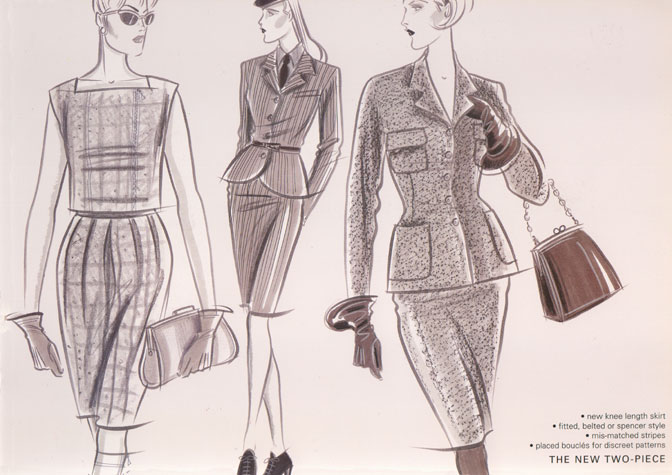 Womens daywear: the new two-piece.  Fited, belted or spencer style.  This copyrighted image is the work of British Fashion Illustrator Hilary Kidd