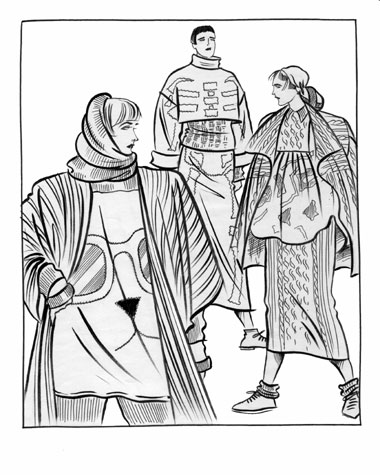 Womens daywear: trent knitwear.   Pen and ink drawing of three figures in contemporary knitted garments.  This copyrighted image is the work of British Fashion Illustrator Hilary Kidd