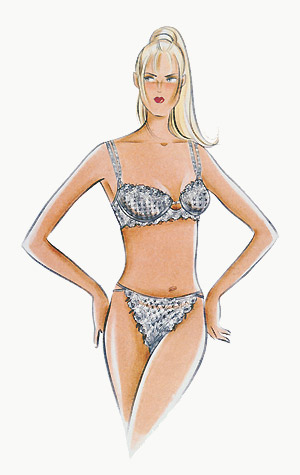Lingerie: woman in matching bra and pants set.  This copyrighted image is the work of British Fashion Illustrator Hilary Kidd