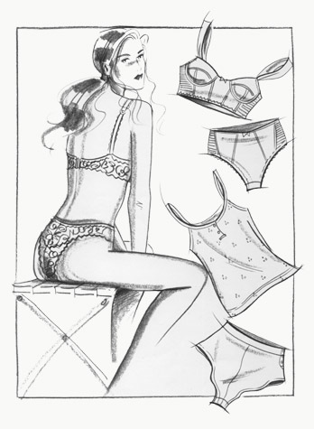 Lingerie: seated figure with flatwork examples of underwear. This copyrighted image is the work of British Fashion Illustrator Hilary Kidd
