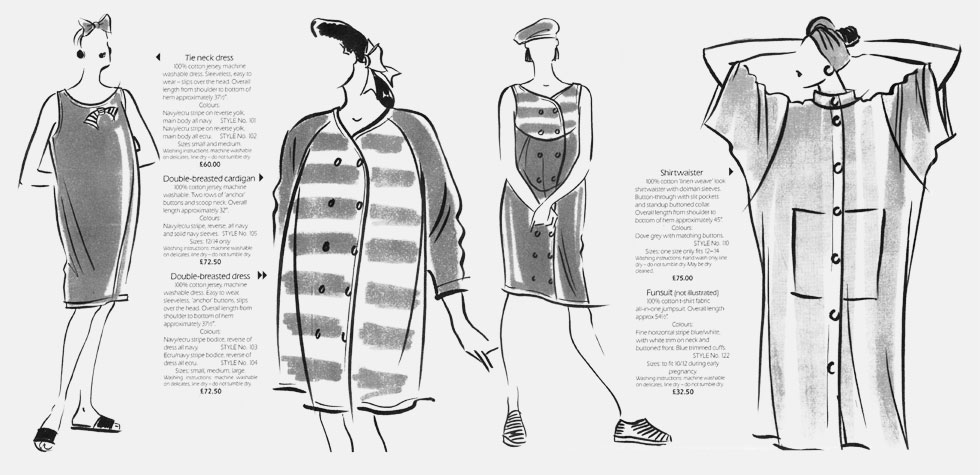 Additions Maternity Fashion - 'For Stylish bumps'.  This copyrighted image containss examples of the work of British Fashion Illustrator Hilary Kidd