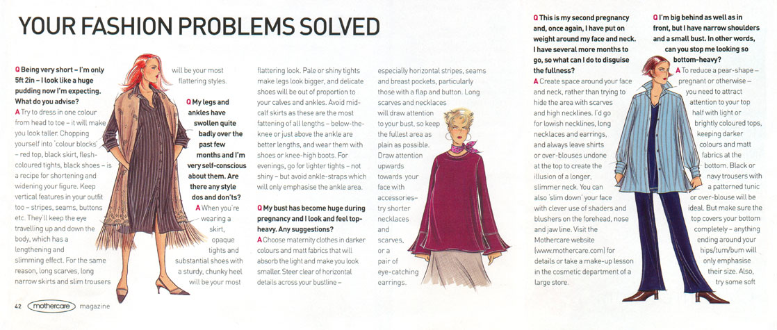 Mothercare Magazine - Your Fashion Problems Solved.  This copyrighted image contains examples of the work of British Fashion Illustrator Hilary Kidd