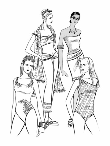 Womens swimwear and beachwear: island ease. This copyrighted image is the work of British Fashion Illustrator Hilary Kidd