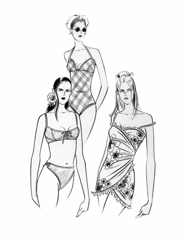 Womens swimwear and beachwear: beach belles. This copyrighted image is the work of British Fashion Illustrator Hilary Kidd